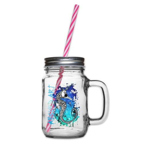 Knochentierchen Seepferdchen von Absurd ART - Henkelglas mit Schraubdeckel