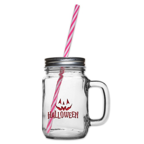 Halloween - Glass jar with handle and screw cap