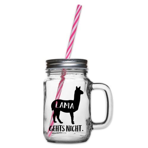 Lustiger Langsam Sport Lama Tier Spruch - Henkelglas mit Schraubdeckel