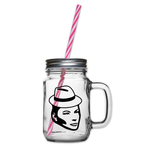 Frau mit Hut - Henkelglas mit Schraubdeckel