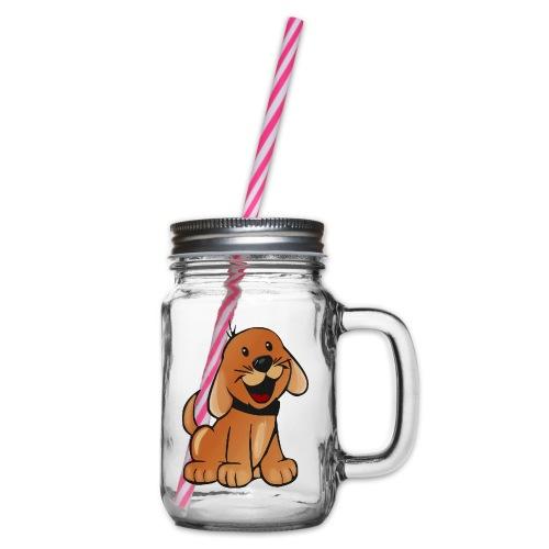 cartoon dog - Boccale con coperchio avvitabile
