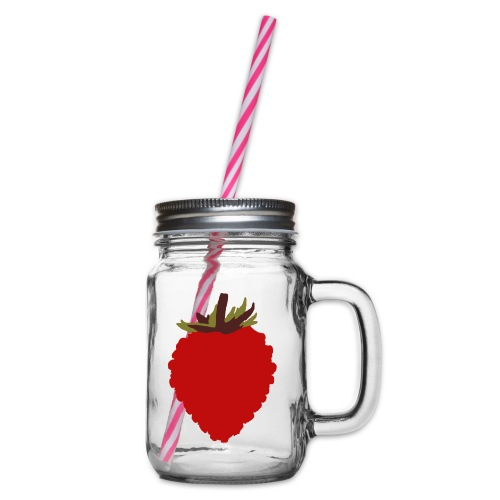 Wild Strawberry - Glass jar with handle and screw cap