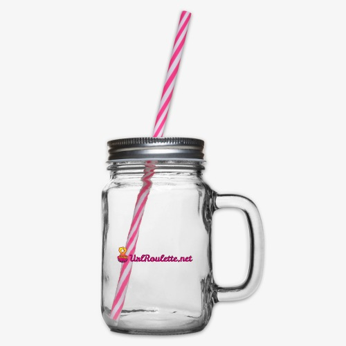 UrlRoulette Logo - Glass jar with handle and screw cap