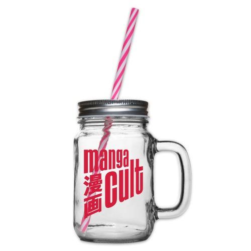 Manga Cult Logo Rot - Henkelglas mit Schraubdeckel