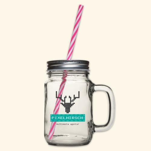 PIXELHIRSCH - Logo - Henkelglas mit Schraubdeckel