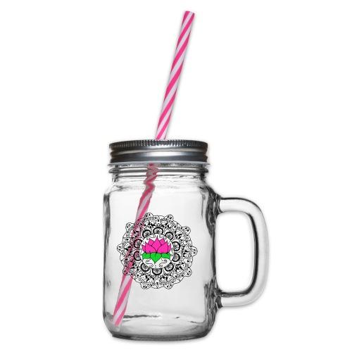 Lotus Flower Mandala - Glass jar with handle and screw cap