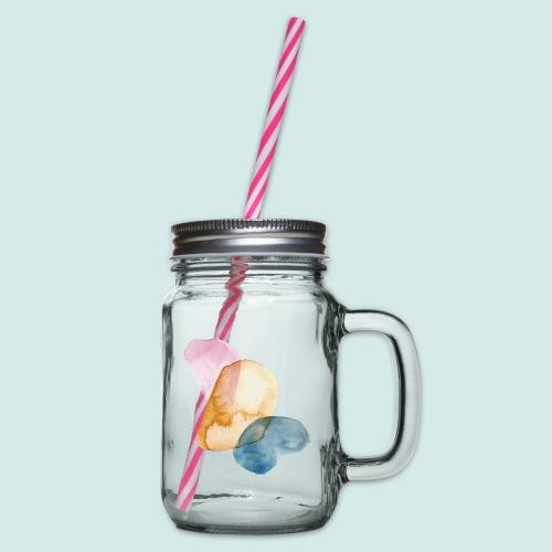 Watercolors - Henkelglas mit Schraubdeckel