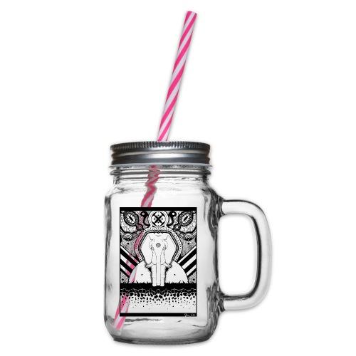 Psychedelic Elephant - Henkelglas mit Schraubdeckel