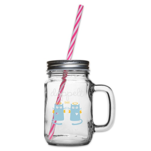 Zwillinge: Doppelt brav - Henkelglas mit Schraubdeckel