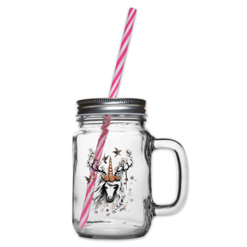 Deer Unicorn Flowers - Glass jar with handle and screw cap