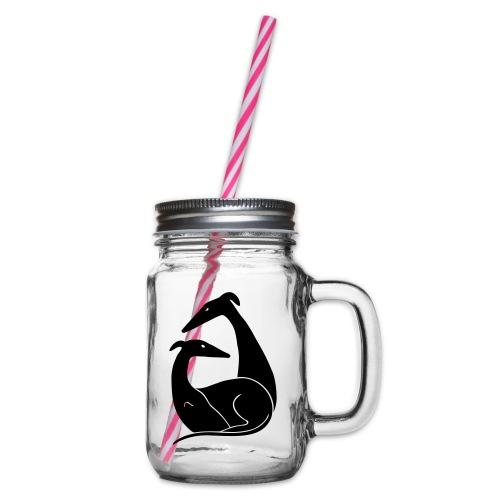 Windhundpaar - Henkelglas mit Schraubdeckel