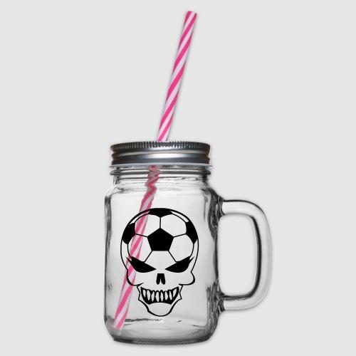 Fußball-Totenkopf - Henkelglas mit Schraubdeckel