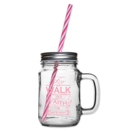 walk pink - Glass jar with handle and screw cap