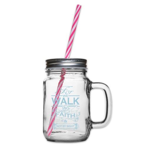 walk powder blue - Glass jar with handle and screw cap