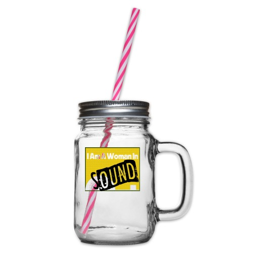 I am a woman in sound - yellow - Glass jar with handle and screw cap