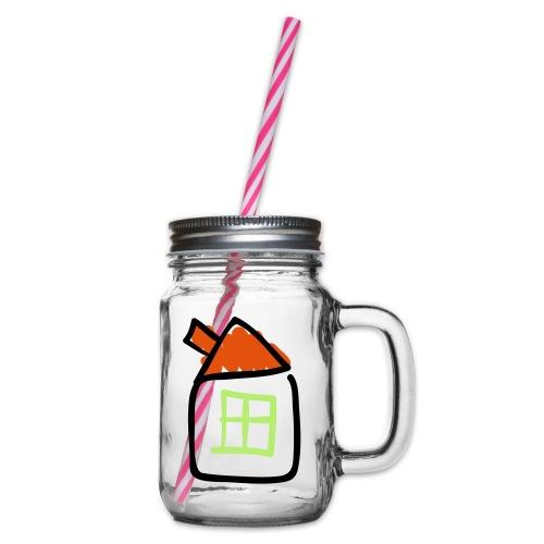 House Line Drawing Pixellamb - Henkelglas mit Schraubdeckel