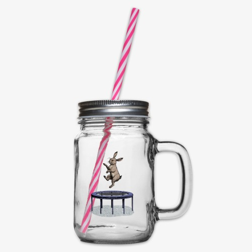 Rabbit Trampoline - Glass jar with handle and screw cap
