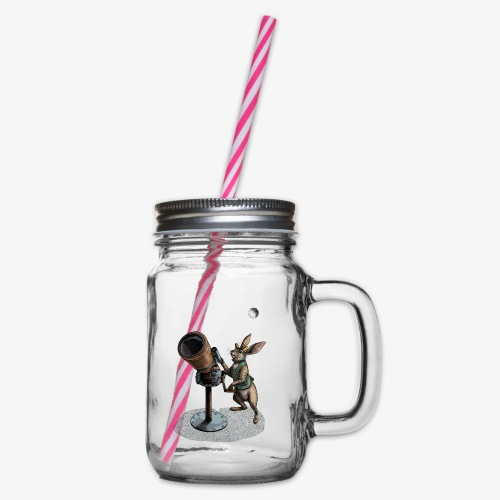 Stargazing Hare - Glass jar with handle and screw cap