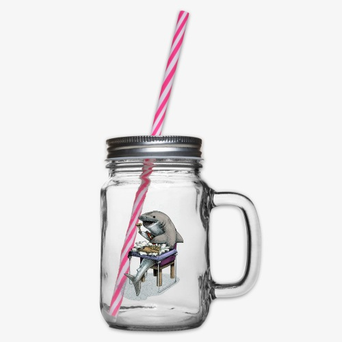 Shark's Fish and Chip dinner - Glass jar with handle and screw cap