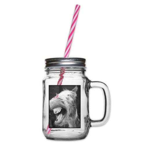 lachender Esel - Henkelglas mit Schraubdeckel