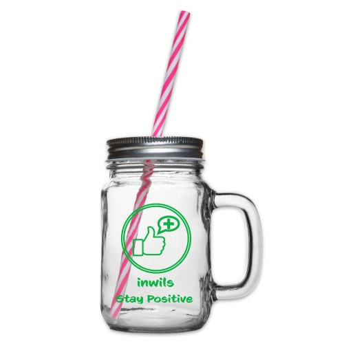 Green inwils Stay Positive Logo - Glass jar with handle and screw cap