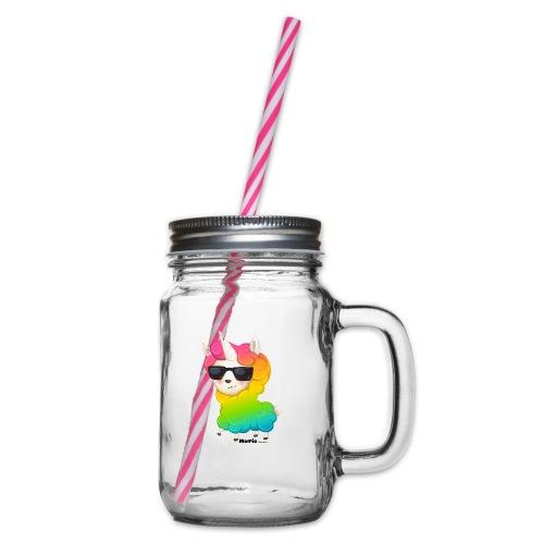 Rainbow animo - Glass med hank og skrulokk