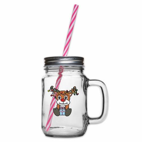 Rentier mit Lichterkette - Henkelglas mit Schraubdeckel
