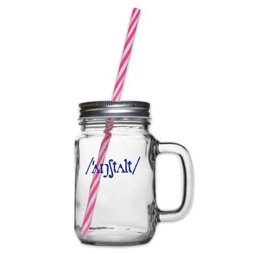 /'angstalt/ logo - Henkelglas mit Schraubdeckel