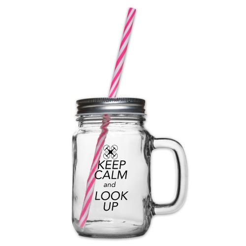 Keep Calm and Look Up - Drinkbeker met handvat en schroefdeksel