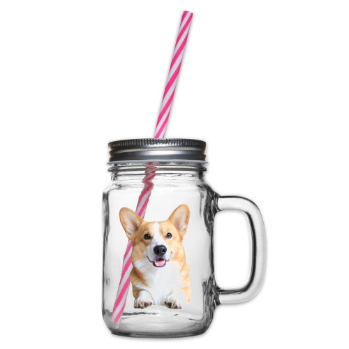 Topi the Corgi - Frontview - Glass jar with handle and screw cap
