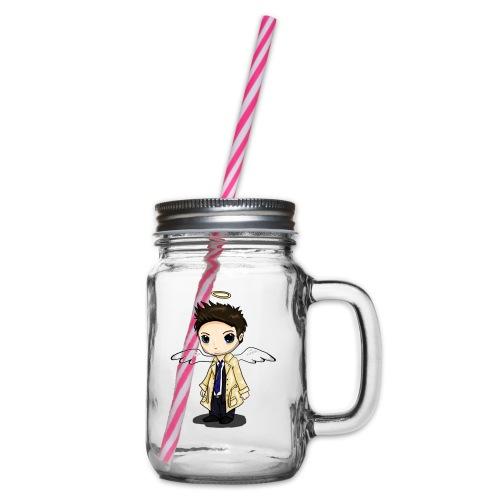 Team Castiel (dark) - Glass jar with handle and screw cap