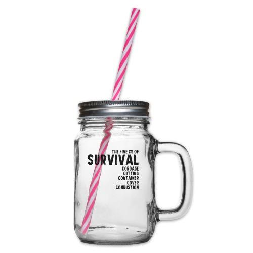 5Cs of Survival List - Glas med handtag och skruvlock