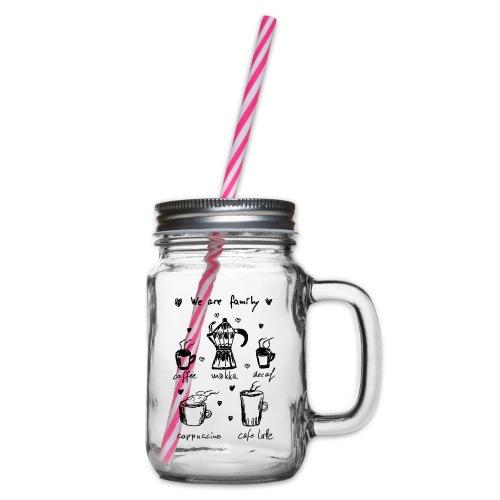 Coffee - We Are Family - Henkelglas mit Schraubdeckel