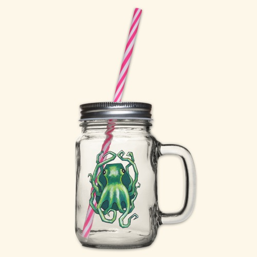 Grön bläckfisk - Glas med handtag och skruvlock