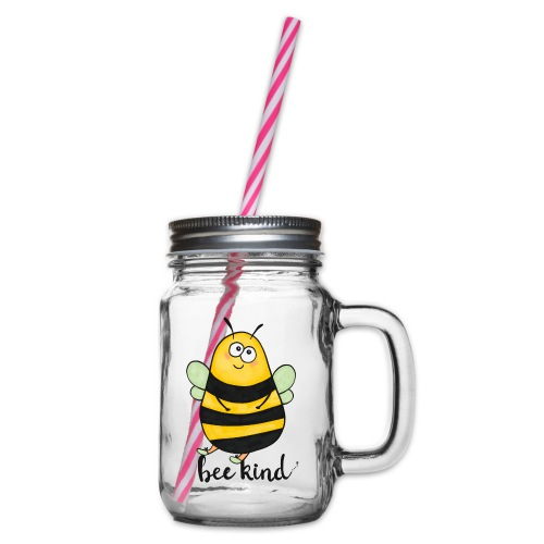 Bee Kind - Glass jar with handle and screw cap