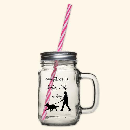 Dog walking - Henkelglas mit Schraubdeckel
