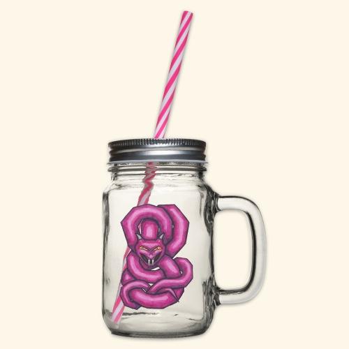Kantig orm - Glas med handtag och skruvlock