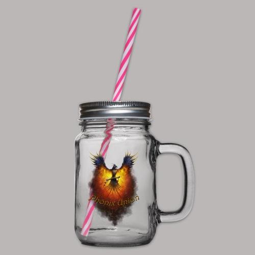 phoenixlogoseitengekuerzputshopdesign - Henkelglas mit Schraubdeckel