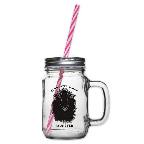 Schwarzes Schaf Logo & Schrift - Henkelglas mit Schraubdeckel