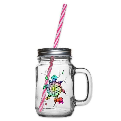 Blume Des Lebens Neuro Art 3 - Henkelglas mit Schraubdeckel