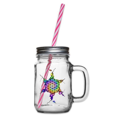 Flower Of Life Neuro Art 3 - Henkelglas mit Schraubdeckel