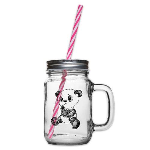 Panda Bär schwarz scribblesirii - Henkelglas mit Schraubdeckel