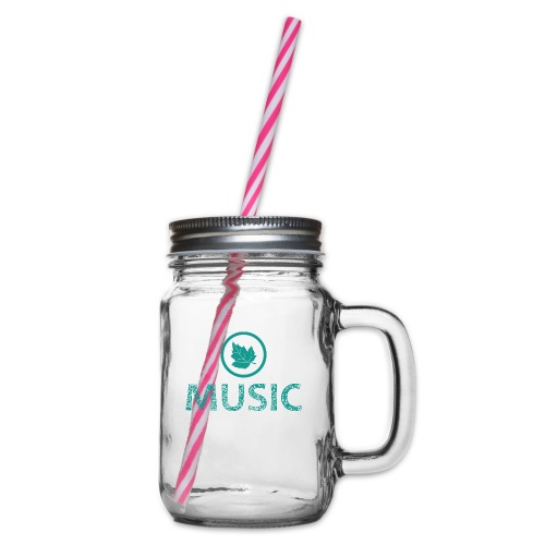 leaf music - Glass jar with handle and screw cap