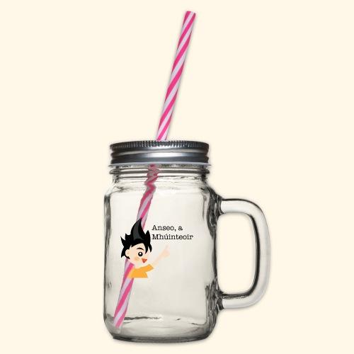 anseo, a mhúinteoir - Glass jar with handle and screw cap