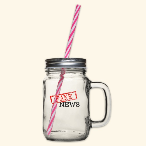 fake news - Glass jar with handle and screw cap