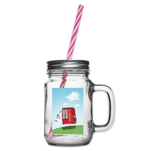 Feuerwehrwagen - Henkelglas mit Schraubdeckel