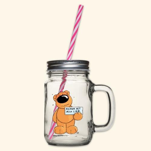 chris bears Keiner hat mich lieb - Henkelglas mit Schraubdeckel