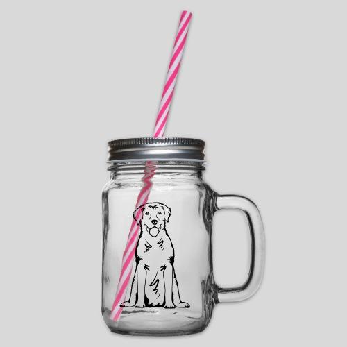 Labbi_sitzend_Front - Henkelglas mit Schraubdeckel