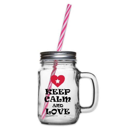 Keep calm and love coeur et étoile - Glass jar with handle and screw cap