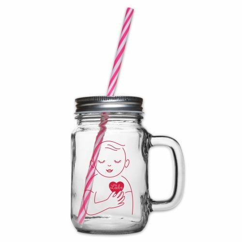 Liebe im Herzen - Henkelglas mit Schraubdeckel